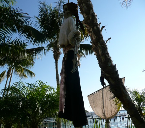 hanging skeleton pirate prop for pirate party or event