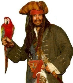 Captain Parrot Jack pirate character actor to appear at parties or an event