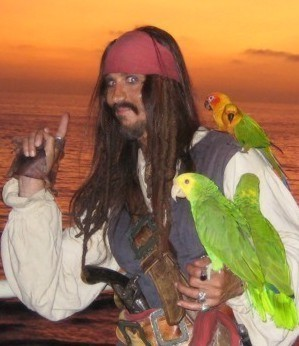 Jack Sparrow impersonator performing parody of Captain Jack Sparrow for hire